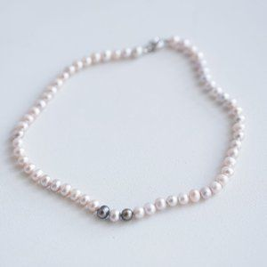 Natural Very Light Baby Pink Grey Pearl Necklace